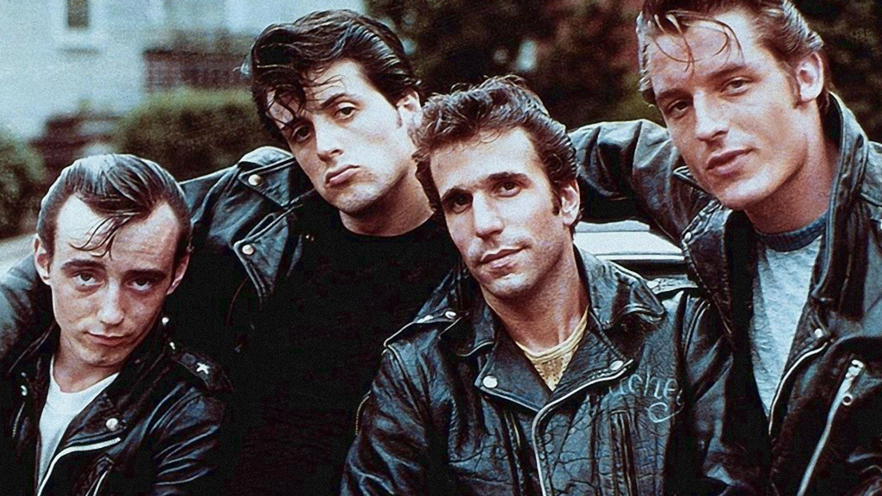 Paul Mace, Sylvester Stallone, Henry Winkler, and Perry King in The Lords of Flatbush