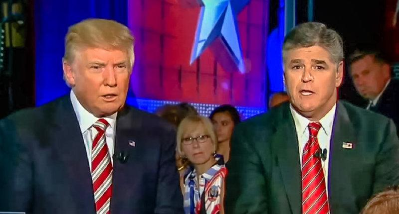 Donald Trump and Sean Hannity sit next to each other