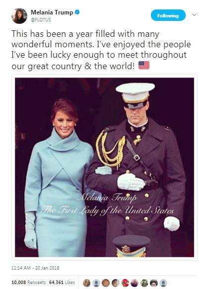 a tweet about the first year in office by melania trump