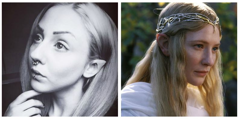 A composite image of Melynda Moon and Galadriel from Lord of the Rings