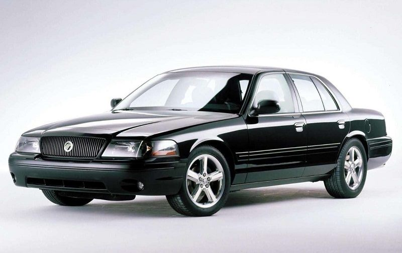 Front three-quarter view of black Mercury Marauder