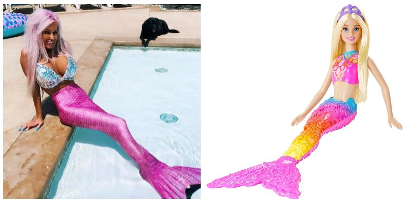 A composite image as Nannette Hammond and Mermaid Barbie