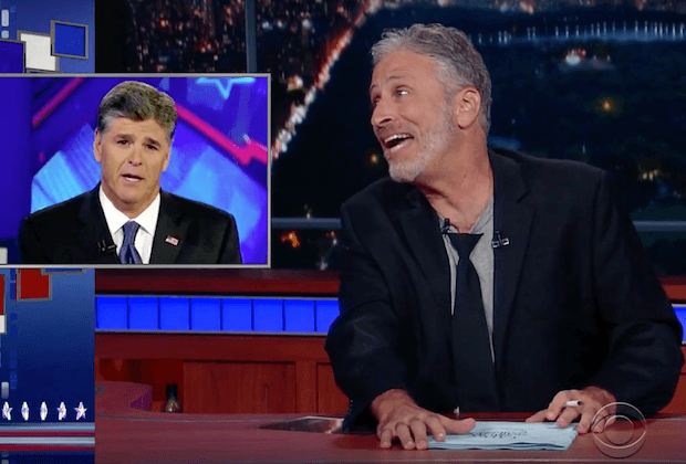 Jon Stewart makes fun of Sean Hannity on his show