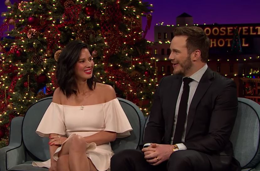 Olivia Munn and Chris Pratt on The Late Late Show with James Corden