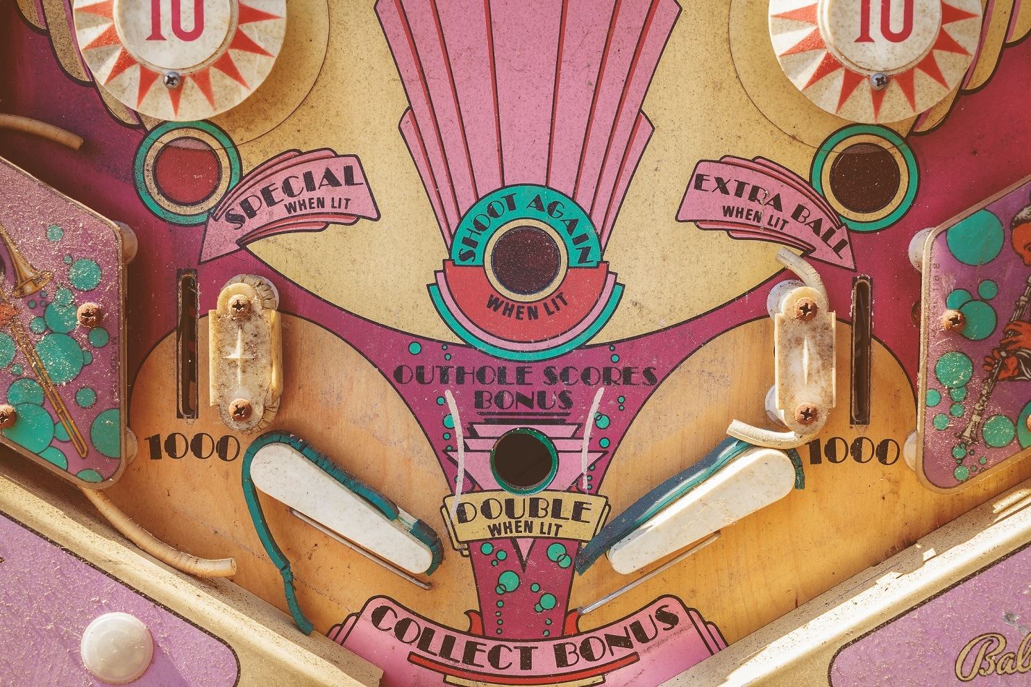 Close up of a weathered vintage pinball machine