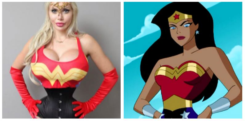 A composite image of Pixee Fox and Wonder Woman