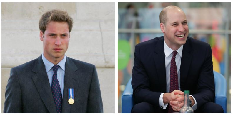 A composite image of Prince William showing drastic hair changes