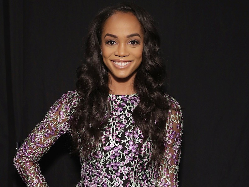 TV personality Rachel Lindsay poses backstage for the Badgley Mischka fashion show during September 2017 - New York Fashion Week: The Shows at Gallery 1, Skylight Clarkson Sq on September 12, 2017 in New York City. | Cindy Ord/Getty Images