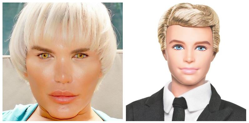 A composite image of Rodrigo Alves and Ken doll