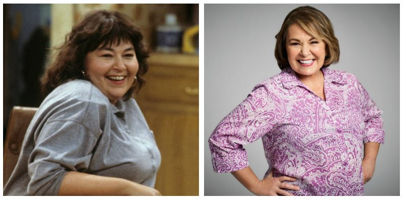 Roseanne Barr then and now composite