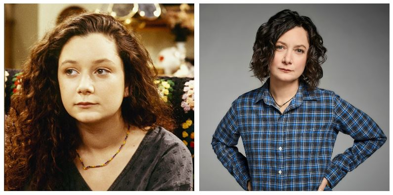Sara Gilbert then and now