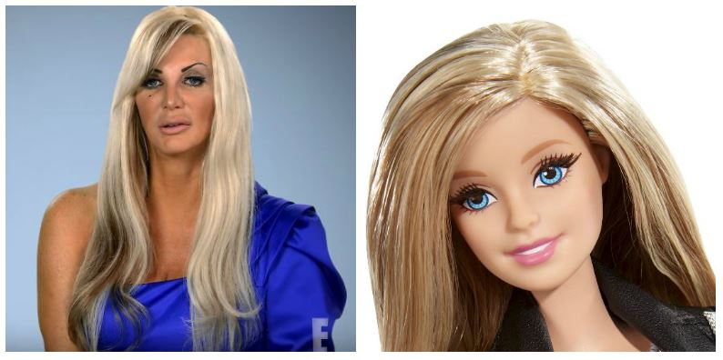 A composite image of Sarah Burge and a Barbie doll