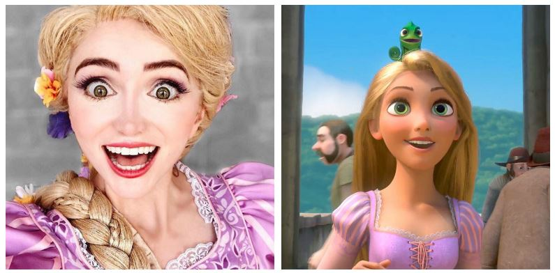 A composite image of Sarah Ingle and Rapunzel in Tangled