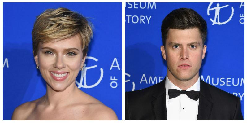 A composite image of Scarlett Johansson and Colin Jost