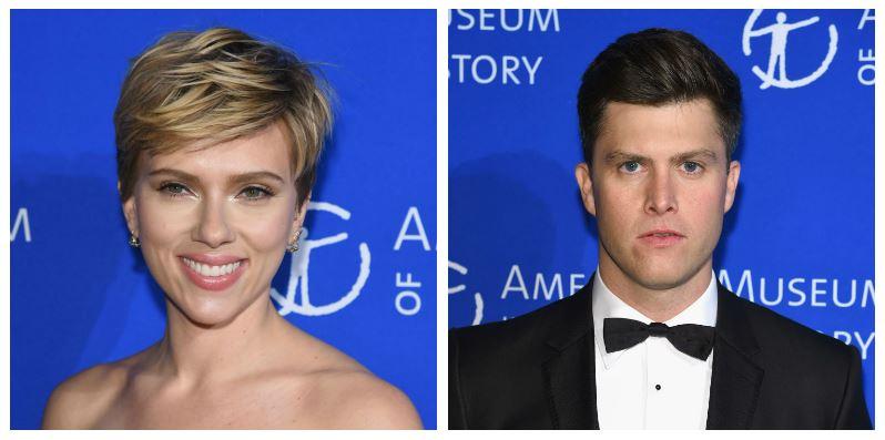 A composite image of Scarlett Johansson and Colin Jost