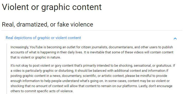 Part of YouTube's policy on graphic content