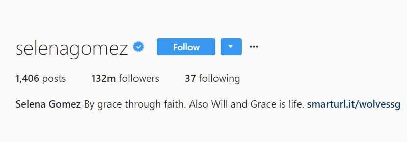 Selena Gomez Instagram followers