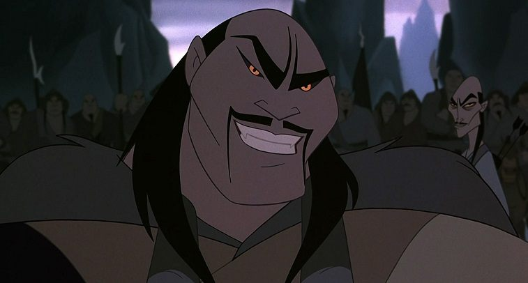 Shan Yu speaks to one of his men behind him in Mulan