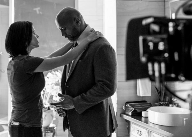 Neve Campbell and Dwayne Johnson in 'Skyscraper'.