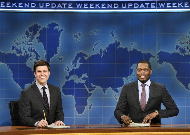 Colin Jost and Michael Che doing Weekend Update on Saturday Night Live