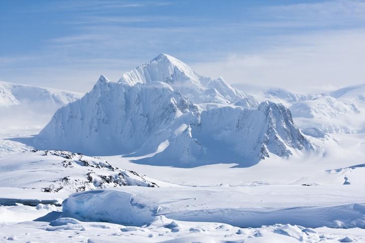 White snow in Antarctica