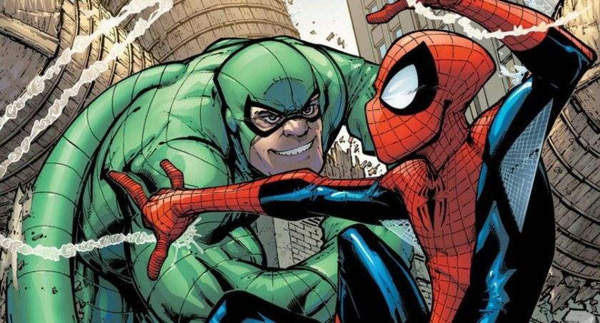Scorpion fighting Spider-Man
