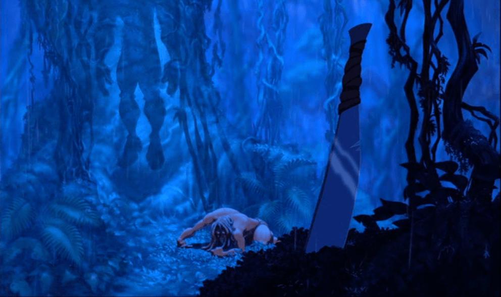 Clayton's body hanging in Tarzan