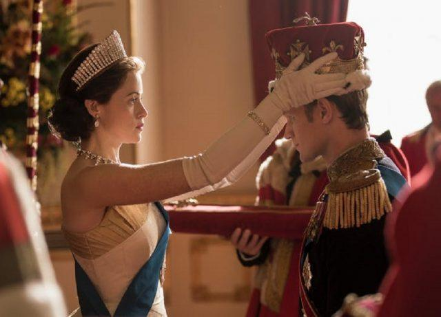 Claire Foy and Matt Smith on 'The Crown'.