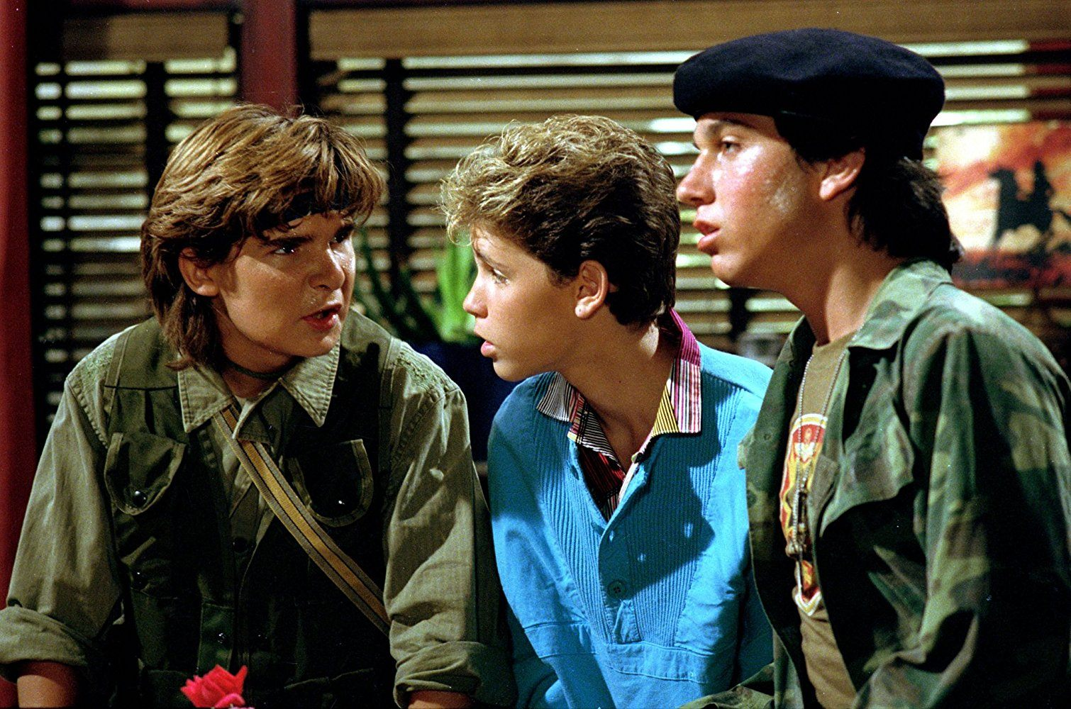 Corey Feldman, Corey Haim, and Jamison Newlander in The Lost Boys