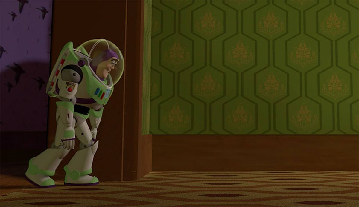 Buzz walking on the distinct carpet in Toy Story