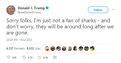 a donald trump tweet about sharks