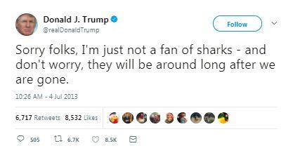 a donald trump tweet about sharks