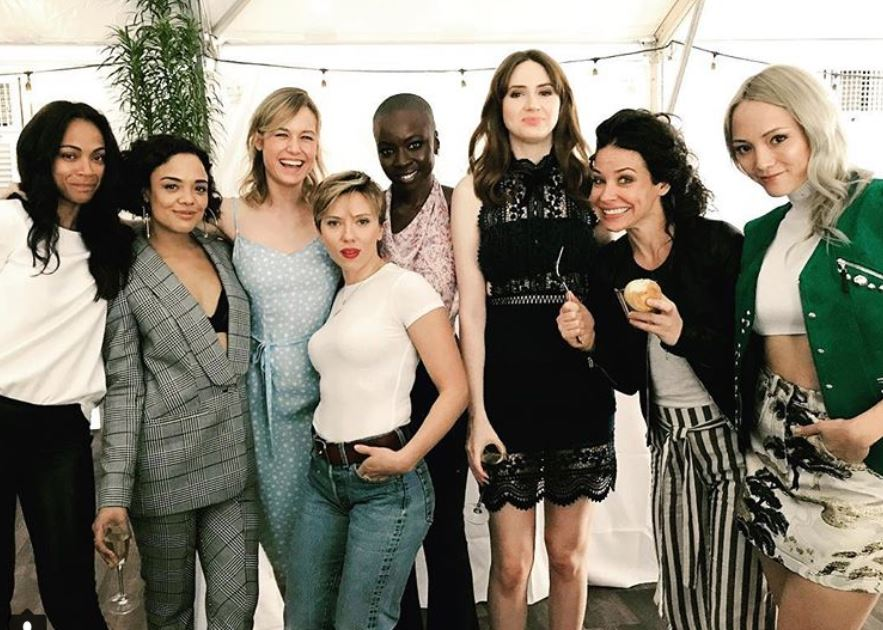 Left to right: Zoe Saldana, Tessa Thompson, Brie Larson, Scarlett Johansson, Danai Gurira, Karen Gillan, Evangeline Lilly, and Pom Klementieff pose together