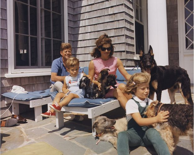 Kennedy family with their dogs