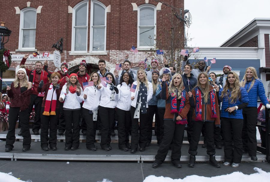 A group of contestants from different countries on Bachelor Winter Games