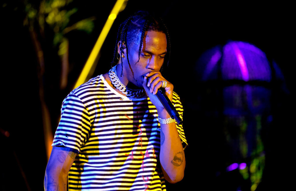 Recording artist Travis Scott performs at the Outdoor Stage.