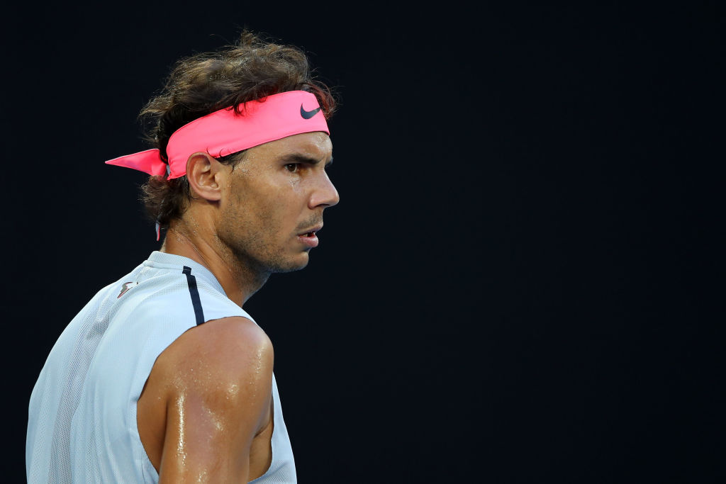 Rafael Nadal of Spain looks on in his quarter-final match against Marin Cilic of Croatia on day nine of the 2018 Australian Open