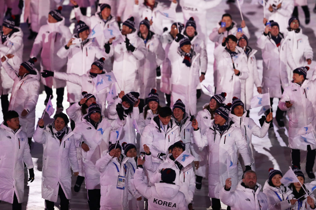 Parade of Athletes during the Opening Ceremony of the PyeongChang 2018 Winter Olympic Games at PyeongChang Olympic Stadium