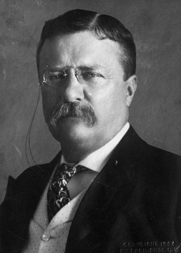 Theodore Roosevelt in a black and white portrait.