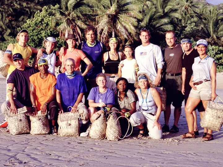 CAPTION: The SURVIVOR: MARQUESAS castaways. Front row, from left: Rob Mariano, Sean Rector, Paschal English, Patricia Jackson, Vecepia Towery and Kathy Vavrick-O'Brien. Standing, from left: Gabriel Cade, Neleh Dennis, Tammy Leitner, Peter Harkey, Gina Crews, Sarah Jones, Hunter Ellis, Robert De Canio, John Carroll and Zoe Zanidakis.<br />