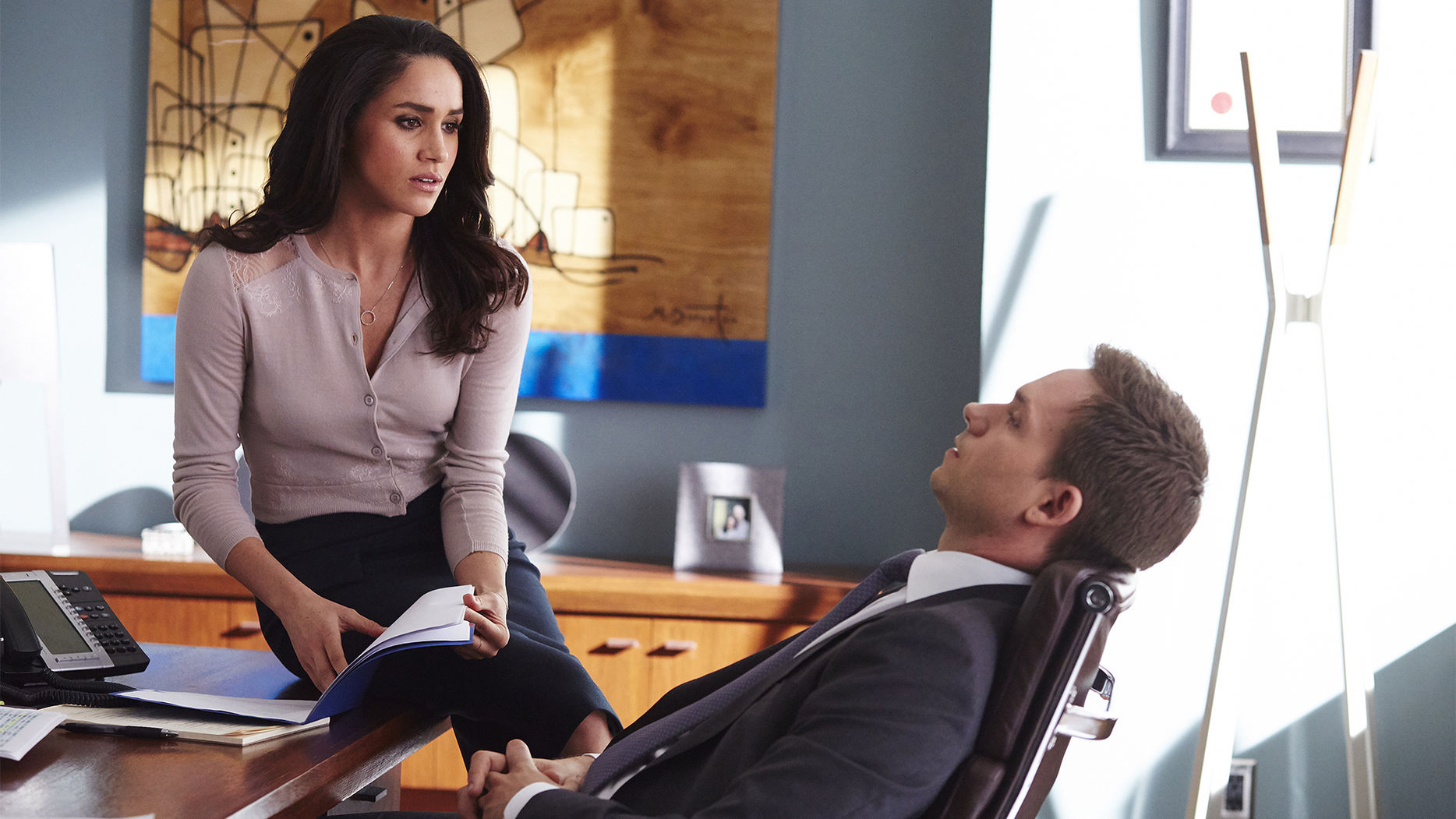 "SUITS -- ""Intent"" Episode 415 -- Pictured: (l-r) Meghan Markle as Rachel Zane, Patrick J. Adams as Mike Ross -- (Photo by: Shane Mahood/USA Network)"