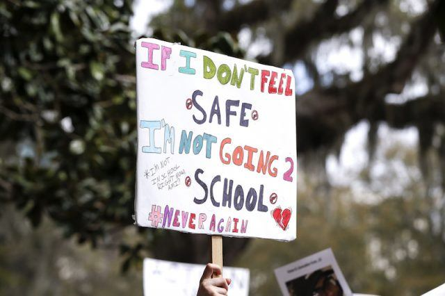A student's protest sign in Florida.