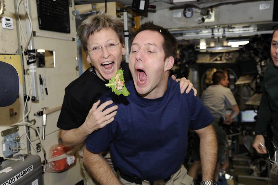 Astronauts eating