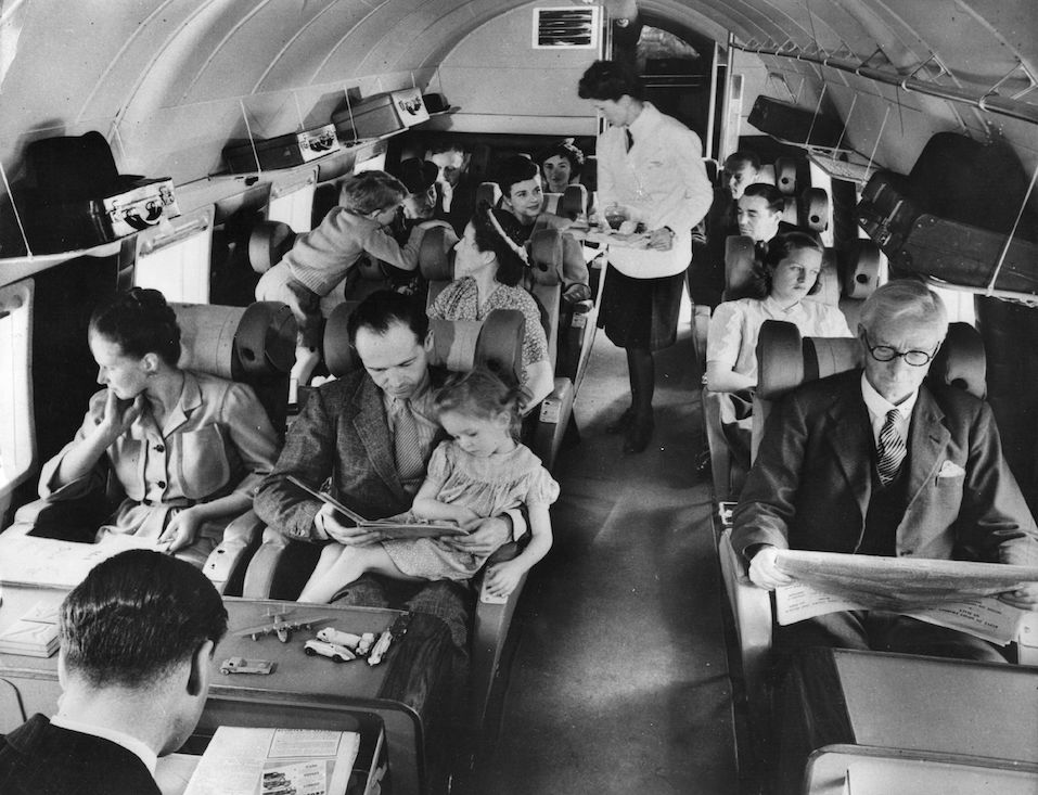Interior of a BEA Vickers showing the passenger section