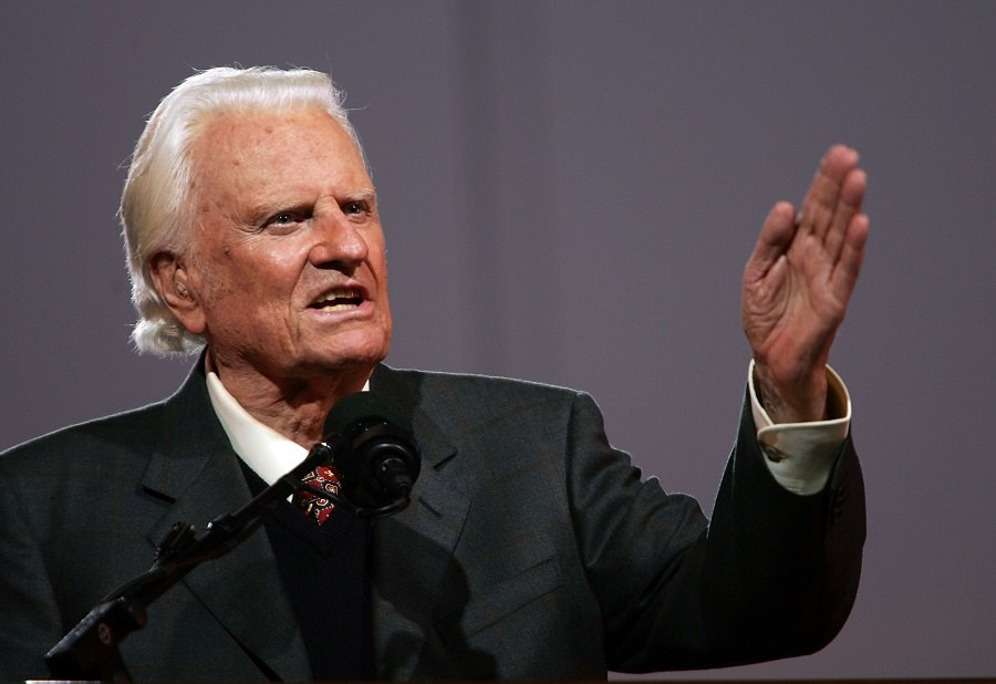 Billy Graham speaks during his Crusade