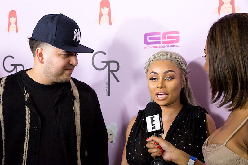"Rob Kardashian and Blac Chyna arrive at her Blac Chyna Birthday Celebration And Unveiling Of Her ""Chymoji"" Emoji Collection at the Hard Rock Cafe on May 10, 2016 in Hollywood, California."