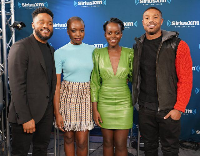 'Black Panther' stars pose together during a press event for the film.