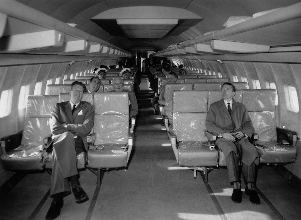 Interior of a giant Boeing 707 jet airliner which can take up to 165 economy class passengers