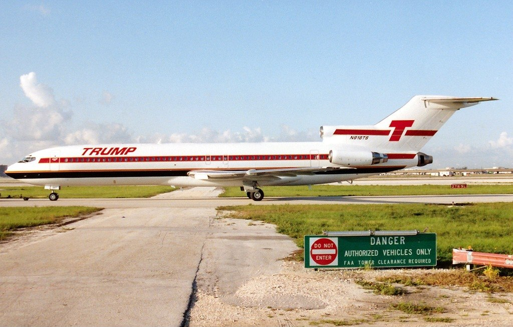 Trump Shuttle plane on runway