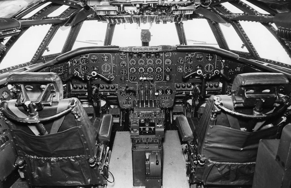 The flight deck of the Britannia airliner provides room for a crew of four